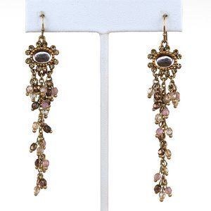 Gold Toned and Soft Pink Beaded Earrings